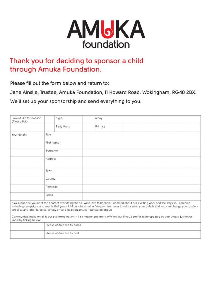 Amuka Child Sponsorship Form 1